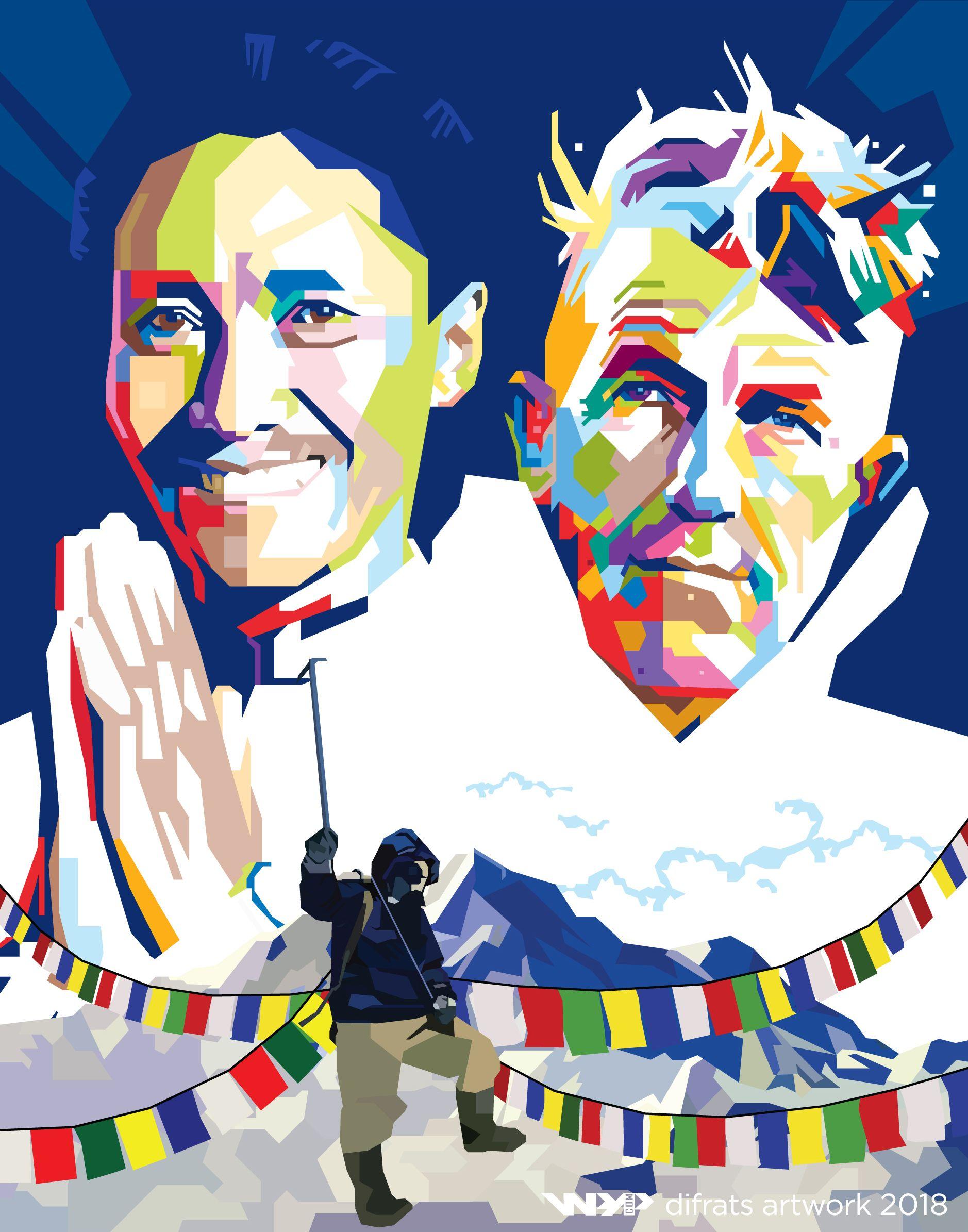 Tenzing Norgay Sherpa & Sir Edmund Hillary wpap by difrats #art #vector #wpap #popart #everest #tenzingnorgay #edmundhillary